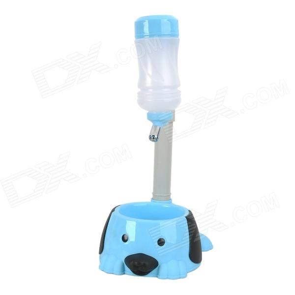 Pole Adjustable Pet Dog / Cat Water Dispenser / Food Bowl - Blue