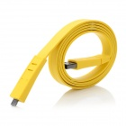 Flat Micro USB Charging + Data Connection Cable - Yellow (100cm)