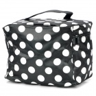 Polka Dot Pattern Portable Zippered Cosmetic Bag w/ Small Compartments Inside - Black + White