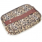 Fashion Portable Leopard Pattern Style Zippered Cosmetic Bag w/ Small Compartments Inside