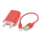 2-in-1 EU Plug Charger + USB Cable for iPhone 5 - Red (AC 100~240V)