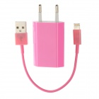EU Plug Power Adapter + USB to 8 Pin Lightning Cable for iPhone 5 - Pink