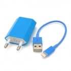 USB Data & Charging Cable + EU Plug Power Adapter for iPhone 5 - Blue