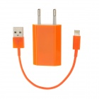 USB Data & Charging Cable + EU Plug Power Adapter for iPhone 5 - Orange