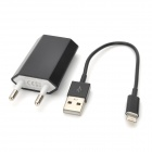 USB Data & Charging Cable + EU Plug Power Adapter for iPhone 5 - Black