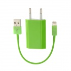 AC Power Adapter + USB to 8-Pin Lightning Charging / Data Cable for iPhone 5 - Green