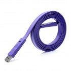 USB Data / Charging Flat Cable w/ Mini USB Port for Cell Phone / MP3 / MP4 - Purple (150CM)