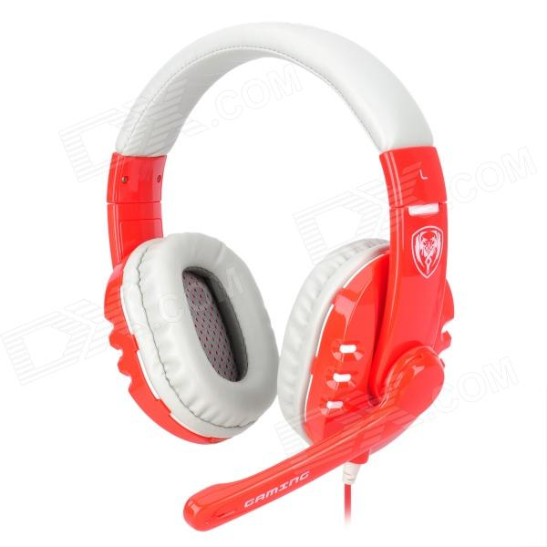 Somic G927 Fashionable Gaming Headphones w/ Microphone - Black + Red (USB Plug / 220cm) gaming headset led light glow noise cancealing pc gamer super bass headband headphones with microphone for computer pc