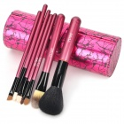 TUBE Professional 7-in-1 Cosmetic Make-up Brushes Set w/ PU Bag - Black + Red
