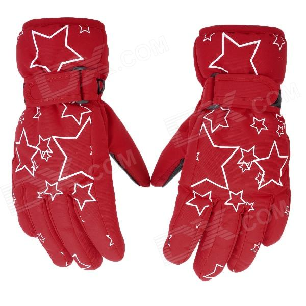 PS007 Star Pattern Waterproof Anti-Slip Full-Finger Gloves for Children - Red + Black + White (Pair) 1more super bass headphones black and red