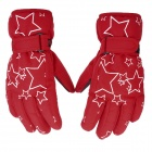 PS007 Star Pattern Waterproof Anti-Slip Full-Finger Gloves for Children - Red + Black + White (Pair)