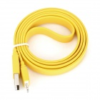 I1301 Flat 8-Pin lightning Male to USB 2.0 Male Data / Charging Cable for iPhone 5 - Yellow (102cm)