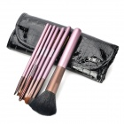MEGAGA Professional 7-in-1 Horse Hair Cosmetic Brushes Set w/ Carrying Bag - Black + Purple