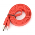 I1304 Flat 8-Pin lightning Male to USB 2.0 Male Data / Charging Cable for iPhone 5 - Red (102cm)