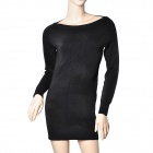 Fashion Horizontal Neck Package Hip Wool Knitdress - Black