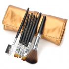 Professional 7-in-1 Cosmetic Makeup Brush Set w/ Strapped Case - Deep Golden