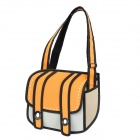 Cool Nylon Quadratic Element Cartoon 3D Shoulder Bag - Orange Red + Black + Grey + White