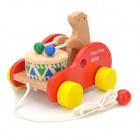 POKO POKO Bear Drum Beating Wooden Pull String Toddler Toy - Red + Yellow + Beige