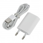 YXT-904 USB Power Charger Adapter w/ Lightning 8-Pin Male Cable for iPhone 5 - White (EU Plug)