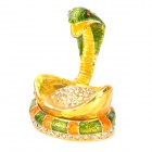 Snake Shaped Golden Ingot Rhinestone Metal Decoration Jewel Case