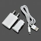 YXT-905 EU Plug USB Power Charger Adapter + Car Charger + Lightning 8-Pin Male Cable for iPhone 5