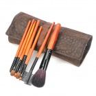 MEGAGA Professional 7-in-1 Wool + Horse Hair Cosmetic Make-Up Brushes Set w/ Bag - Salmon Orange