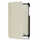 Check Patterns Protective Folding PU Leather Back Cover Case for Google Nexus 7 - Beige + Black