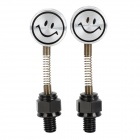 Cute DIY Motorcycle Spring Smile Face Dummy Rearview Mirror - Silver + Black (2 PCS)