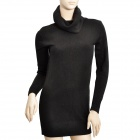 Fashion Cotton Blend Long-Sleeves Bottoming Sweater for Women - Black (Free Size)