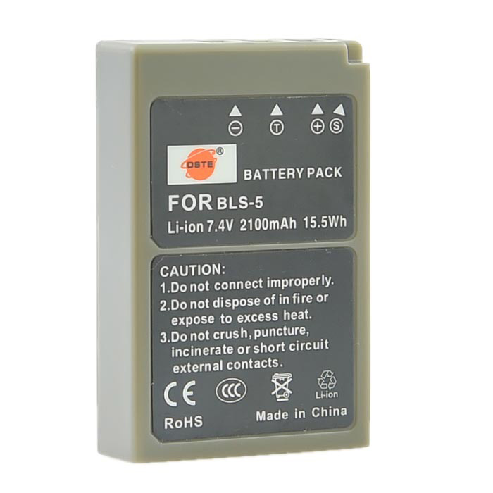 DSTE BLS-5 Replacement 7.4V 2100mAh Battery for Olympus E-M10/E-PL3/E-PL6/E-PL2/E-PL1/E-450 + More