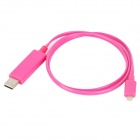8 Pin Lightning Male to USB Male Cable w/ Visible Light for iPhone 5 - Deep Pink (80cm)