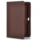 Protective PU Leather Flip-Open Case w/ Stand for Asus TF600T - Coffee