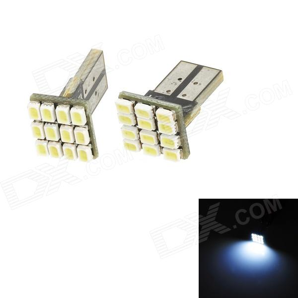 T10 1.2W 72lm 12-SMD 1206 LED White Light Car Width Lamp / Indoor Bulb - Black (2 PCS / DC 12V)