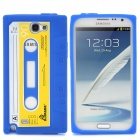 Retro Cassette Tape Style Protective Soft Silicone Case for Samsung Galaxy Note 2 N7100 - Dark Blue