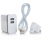 US Plug Dual USB Port Power Adapter Charger w/ Cable for iPhone 5 / iPad / iPod + More - White