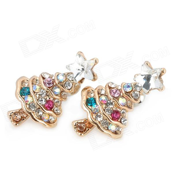 Fashionable Christmas Tree Shape Alloy + Crystal Earrings - Multicolored (Pair)