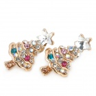 Modische Weihnachtsbaum Form Alloy + Crystal Earrings - Bunt (Pair)