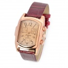 62131 Fashionable PU Leather Band Rectangle Dial Quartz Analog Women's Wrist Watch - Brown (1 x 377)
