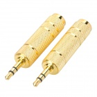 Gold Plated 3.5mm Male to 6.3mm Female Audio Connectors (2-Pack)