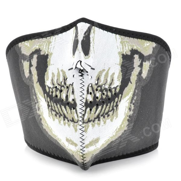 Skull Pattern Outdoor Motorcycle Face Mask Shield Guard - White + Black (Free Size) 3m 7702 advanced silicone protective mask comfortable type soft respirator mask painting graffiti respirator gas mask