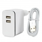 Dual-Port USB Power Charger w/ Lightning 8-Pin Cable for iPhone 5 - White (EU Plug / 100~240V)
