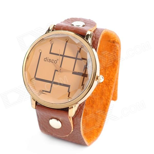 Retro Cow Leather Band Zinc Alloy Quartz Analog Women's Wrist Watch - Brown (1 x 377) crown style zinc alloy case split leather band quartz analog wrist watch for women orange golden