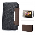 Lychee Pattern Protective PU Case w/ Slots + Strap for Samsung Galaxy Note 2 N7100 - Black + Coffee