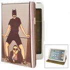 Gangnam Style Protective PU Leather Case for iPad Mini - Black + Brown + White