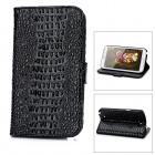 Crocodile Pattern Protective PU Case w/ Holder + Slot - Black