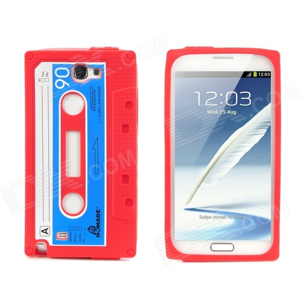 Protective Silicone Back Case for Samsung Galaxy Note II N7100 - Red + Dark Blue cute 3d girl style protective silicone back case for samsung galaxy note 3 n9000 green