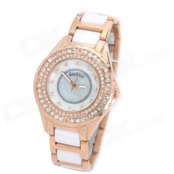 Daybird 3713 Ceramic Band Quartz Women's Wrist Watch w/ Crystal- Golden (1 x LR626)