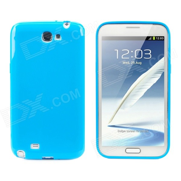 Protective TPU Back Case for Samsung Galaxy Note II N7100 - Blue protective tpu silicone back case w stand for samsung galaxy note 3 translucent blue white