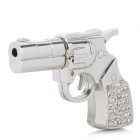 Crystal Diamond Metal Gun Pistol Shape USB 2.0 Flash Drive Disk - Silver (8GB)