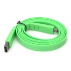 USB Data / Charging Flat Cable w/ Mini USB Port for Cell Phone / MP3 / MP4 - Green (150CM)